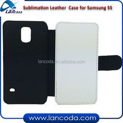 sublimation pu leather phone cover for Samsung S5,with white fabric cloth