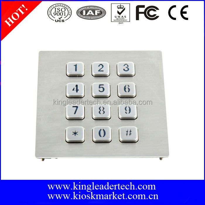 Rugged 3x4 metal USB LED backlit keypad