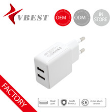 VBEST new multiple usb wall charger 2 port usb wall charger Euro/US plug wall charger 1000/2000mAh