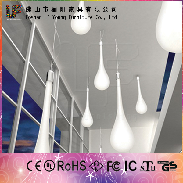 China Wholesale Water Drop Shaped Modern Decoration Colorful Bar LED Light Furniture , Popupal Durable LED Ceiling Lamp