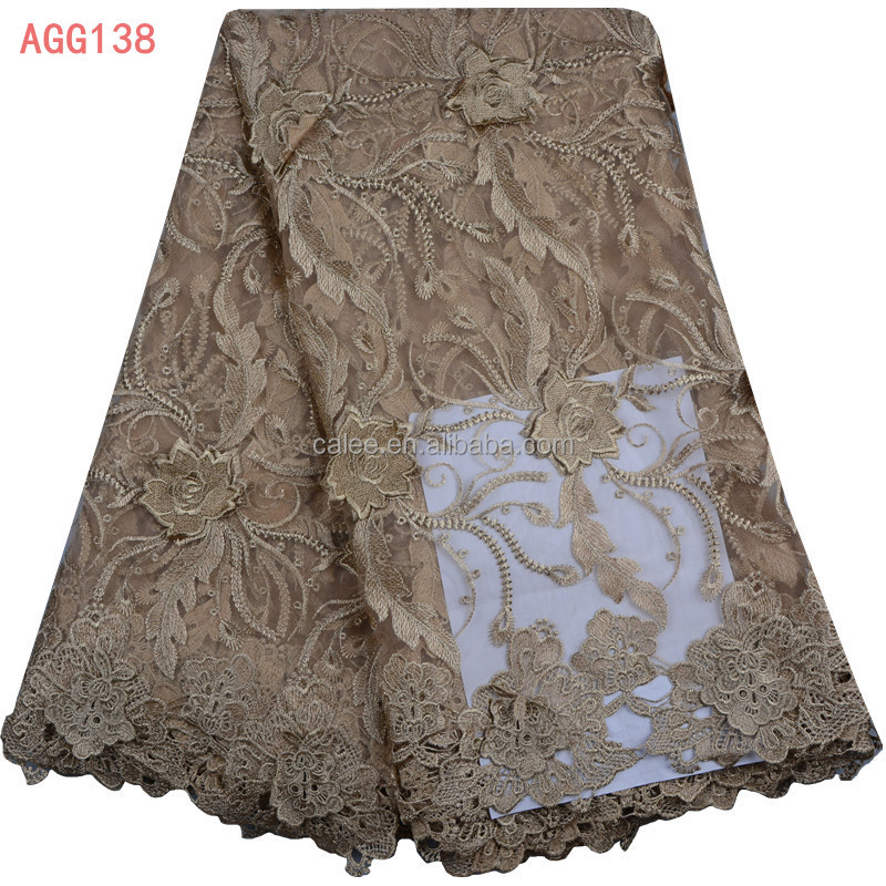 New design french tulle lace fabric 3d flowers embroidery designs african french lace