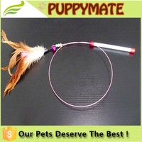 2016 Popular wholesale retractable cat teaser stick toys, feather wand cat toy,high quality pet toy