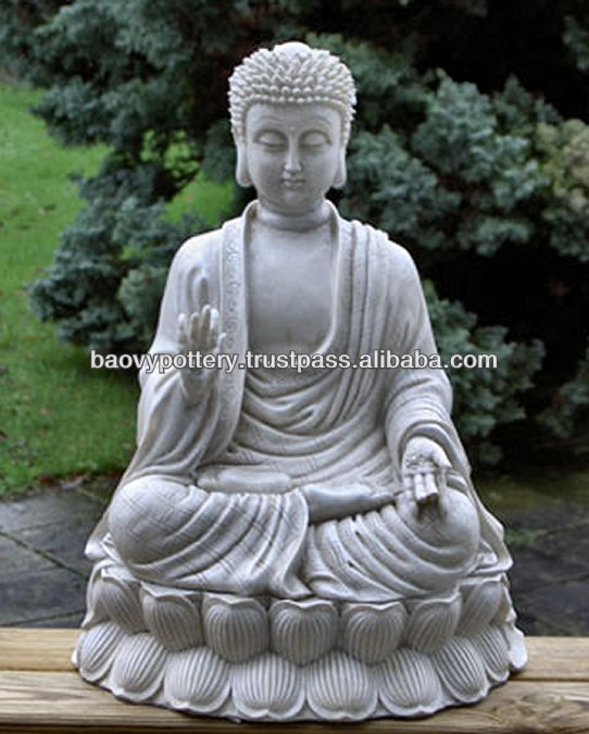 White Medium Buddha Statue - Light Cement, Stone Buddha Statue - Glazed Outdoor Statue