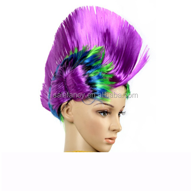 Purple color high quality multi color wigs football mohawk fan wig QPWG-8049