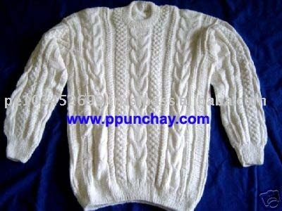 "Alpaca Sweater Handmade ""L"" Peru Crew Neck for Men"