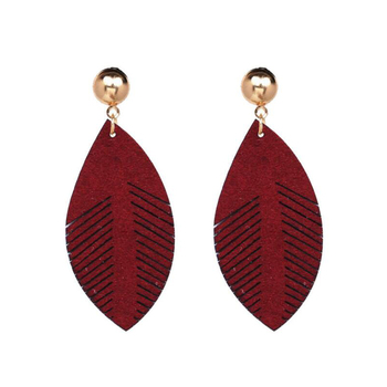 Fashion good price multi color faux leather earrings for girls wholesale retro small jewelry earrings