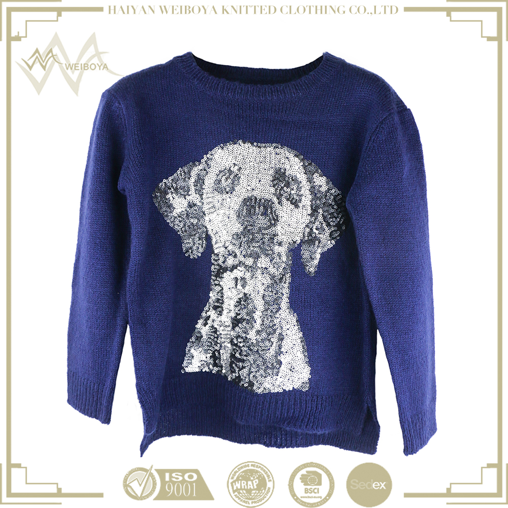 2017 High quality blue sweater With puppet sequins pattern cute fashion knitted sweater The sweater is designed for children