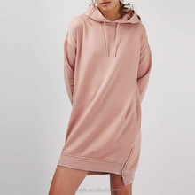 New Ladies Western Dress Designs Plained Dyed Hoodie Sweat Dress Fashion Ladies