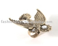 Gold Flower Bird Ring With Crystal Fashion Animal Jewelry