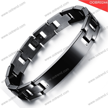 Black oxidized stainless steel custom engraving medic bracelet
