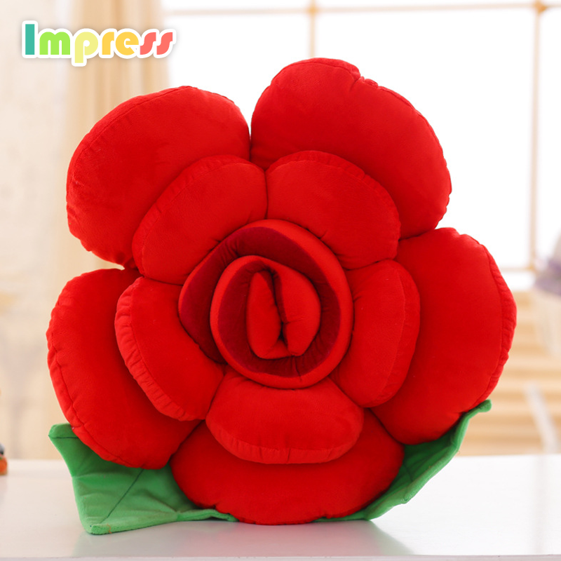 Cute soft plush rose flower baby pillow