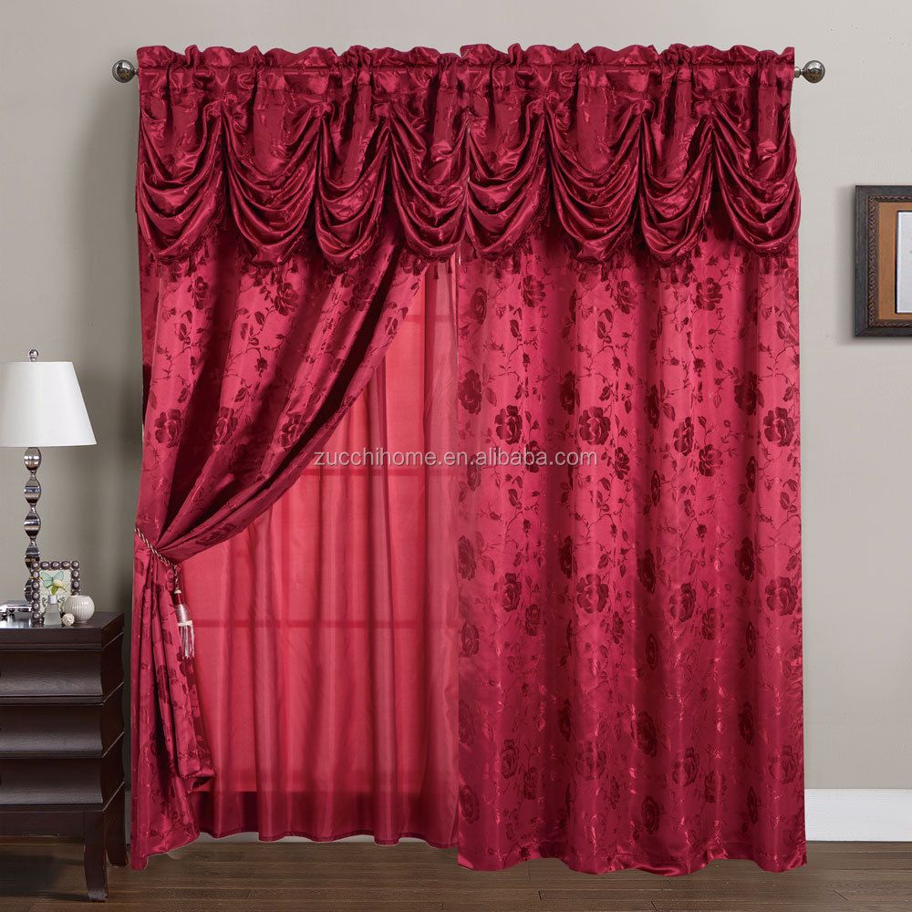 2017 New American Style Two Layer polyester fabric Jacquard Curtain Drapery In Luxury Valance With Lining