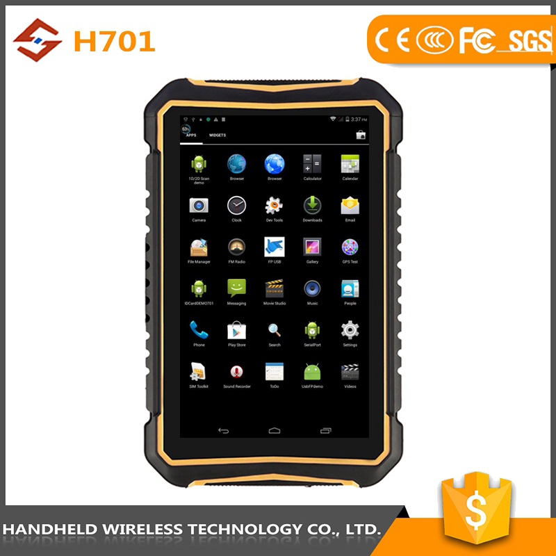 great quality 7intch rugged handheld wireless ip 65 android 4.4.2 pda barcode scanner tablet pc wifi 3g