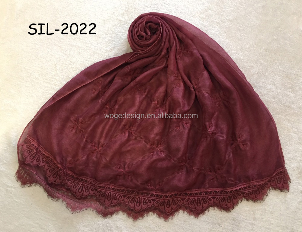 New modern high quality large size wholesale prime embroidery flower wraps muffler tie dye color lady cotton lace hijab scarf