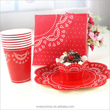 Wholesale Party Tableware Set , Disposable Red Polka Dot Party Supplies Paper Set