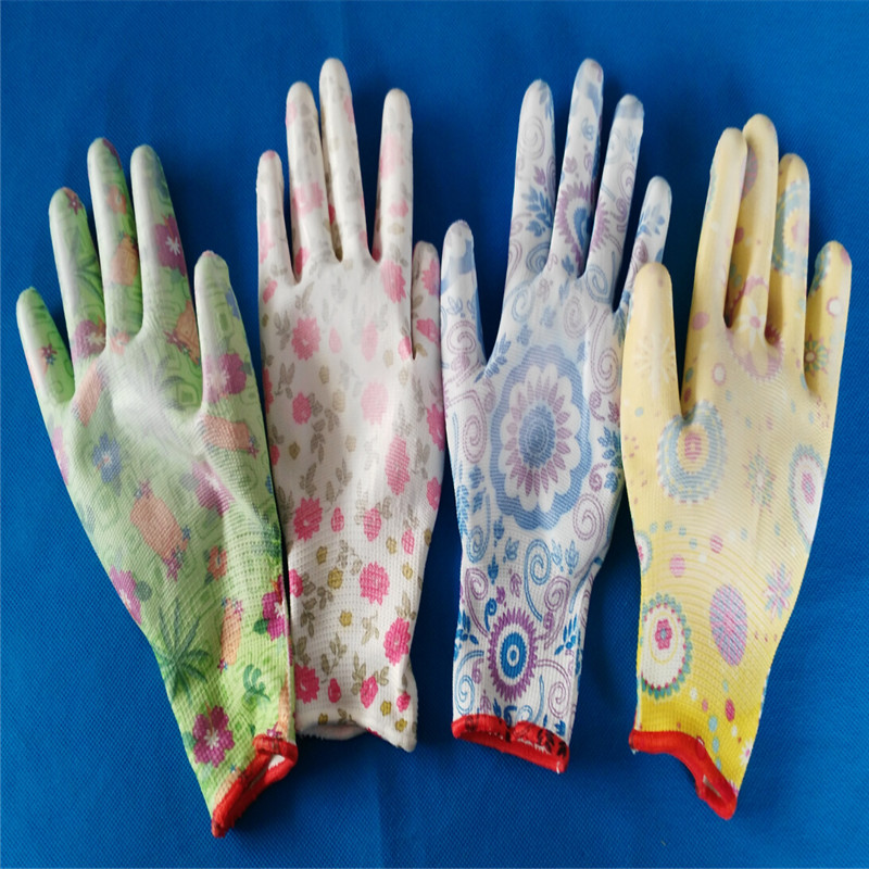 lady garden safety working gloves PU coated nylon gloves for promotion