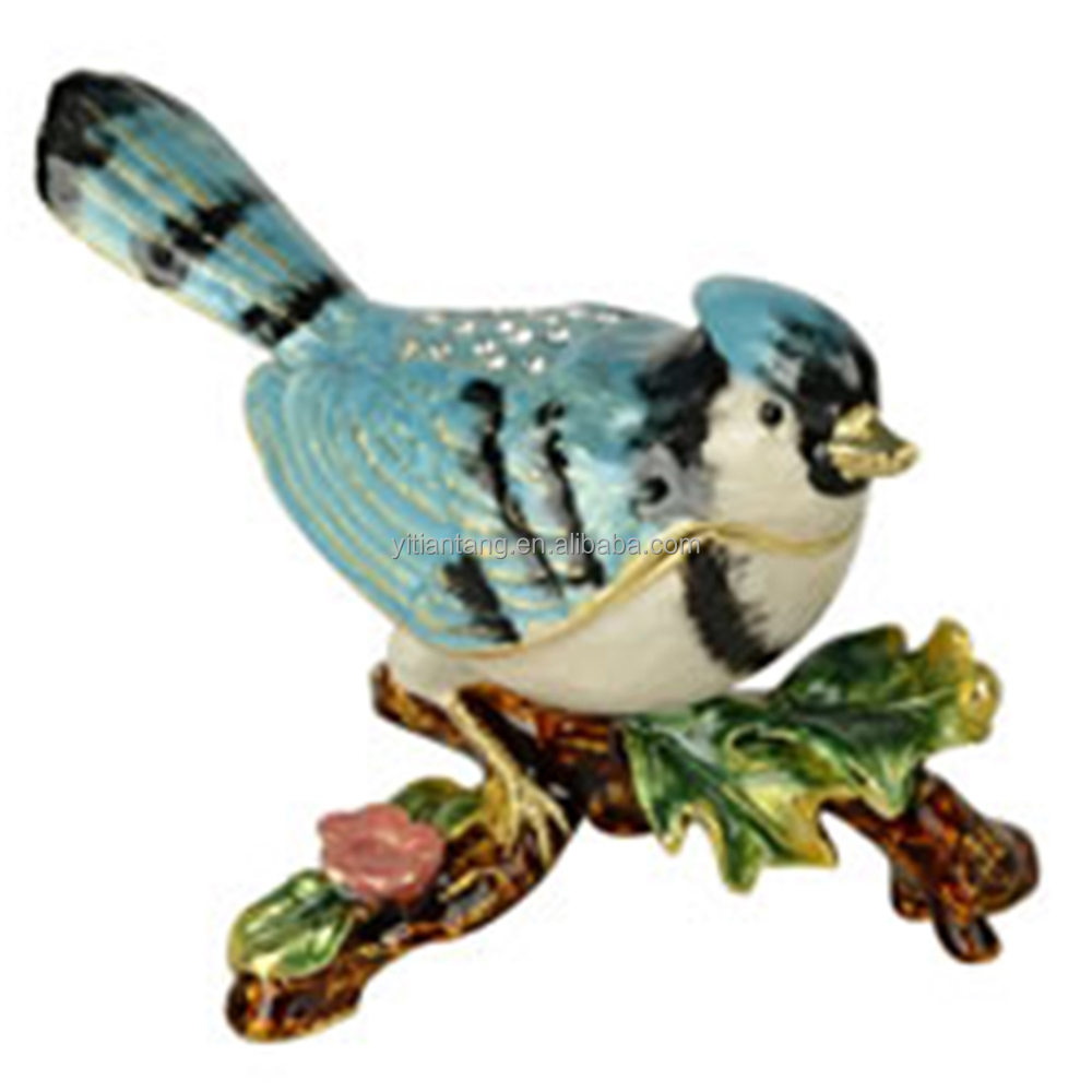 Blue Jay bird sculpture box bird jewelry box metal decoration