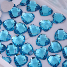Top quality Aquamarine color heart shape 16mm acrylic stone.Cheap beautiful rhinestone for dresses in bulk