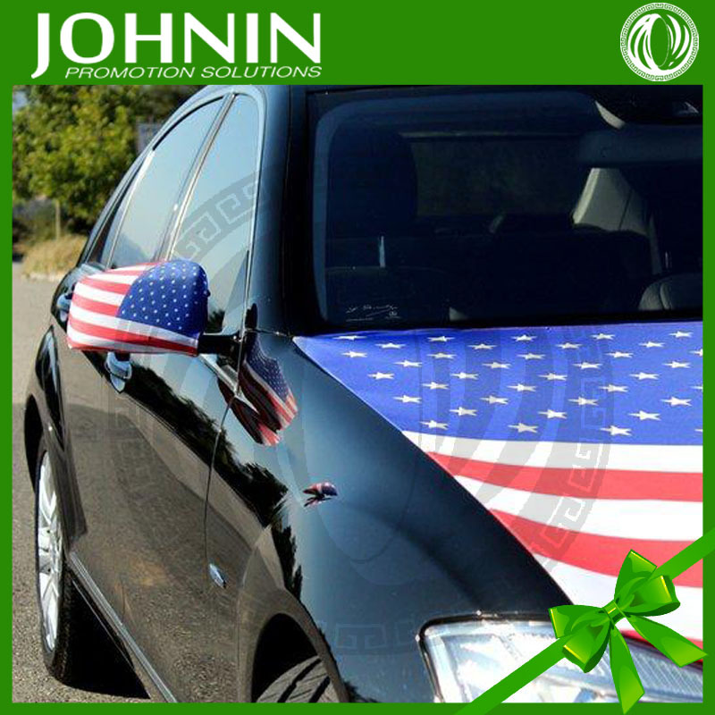 250gsm polyester car accessory 2015 28*30cm hot sale custom logo car mirror flag cover