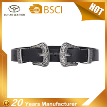Fashion Ladies Vintage Leather Belt Sliver Double Buckle Woman Belt