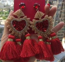CM-XY1562 Wholesale Fashion Gold Dangle heart <strong>earring</strong> , Miyuki Bead Tassel <strong>Earrings</strong> for Women