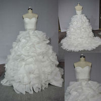 AM876 New Style Backless Crystal Beaded Belt Ruffled Organza Real Sample Wedding Dress
