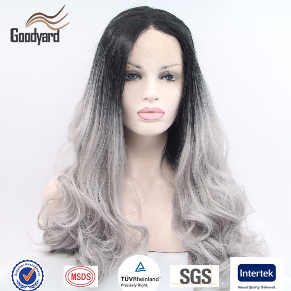 Wholesale Long Heat Resistant Synthetic Black Grey Color Ombre Lace Front Wig