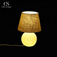 Custom size ball base fabric lampshade living room bed side table lamp