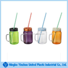 BPA free 16oz mason jar with handle and straw assorted colors