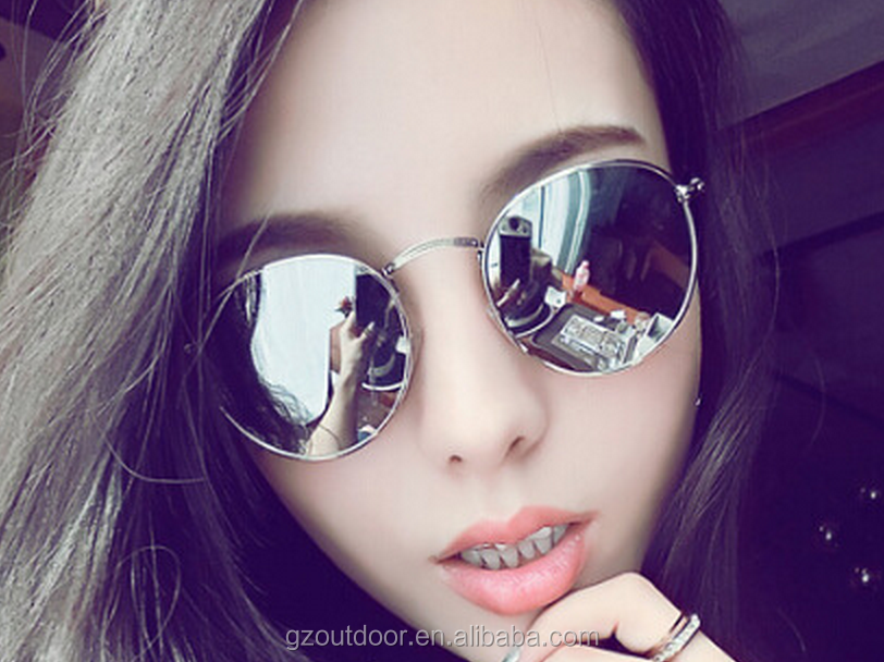 2016 simple round frame women AC sunglasses,golden silver black alloy frame girls goggles,colorful film uv400 hot online shades