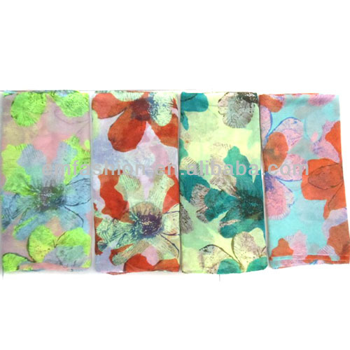 Fashion Latest Design Large Flower Print Women's Floral Cotton Scarf/Shawl