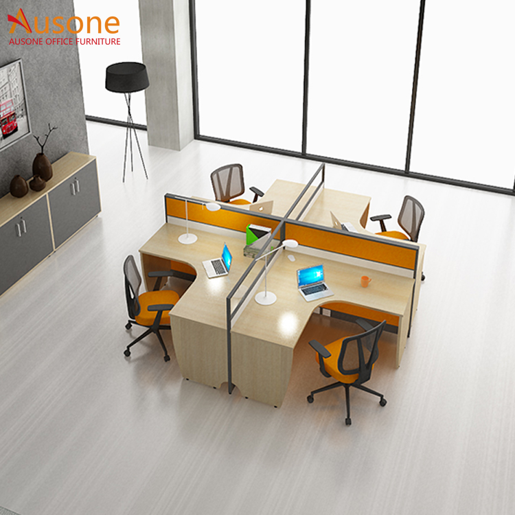 Cheap office furniture steel tube frame 4 person computer desk
