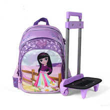 Teenager girls backpack trolley wheel luggage school trolley bag