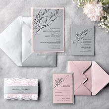 Gorgeous & elegant lace wedding invitations with gray envelopes