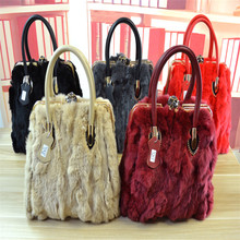 fashion cheap genuine rex rabbit fur beautiful ladies handbag