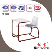 Best quality & cheap school furniture Single fixed desk and chair PP-109C