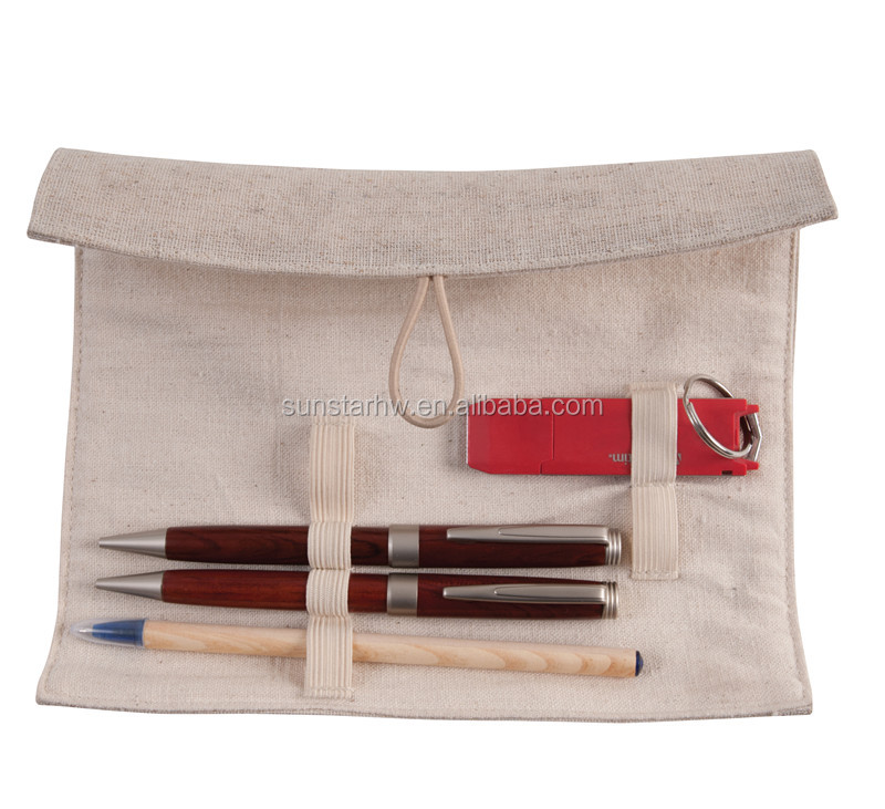 wholesale portable jute roll up pencil case