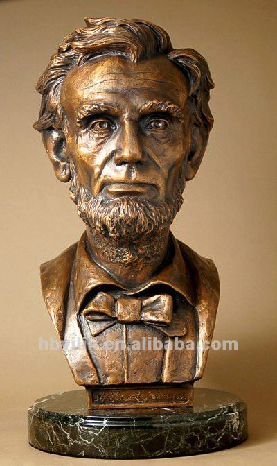 Bronze Bust Sculpture For Famous Figure Lincoln