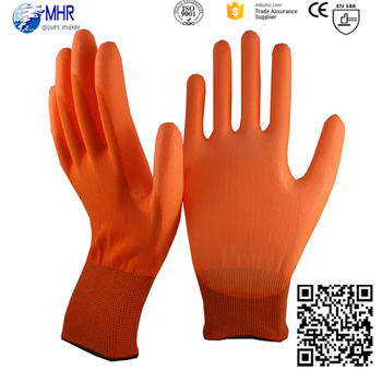 MHR PU gloves orange nylon liner PU gloves/anti-slip gloves /Industrial Work gloves good grip in dry enviroment