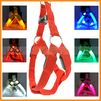 Led Flashing Light Up Custom Dog Pet Safety Leash Collar Harness Set