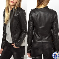 fashion ladies wears new leather look short women jacket cheap wholesale women moto jackets