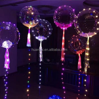 18 inch LED String Lights CLEAR Bobo Helium Balloon