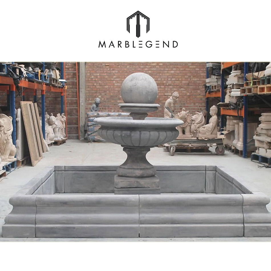 hand carved natural stone water ball fountain