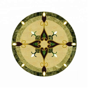 green onyx waterjet floor medallion pattern for hotel project