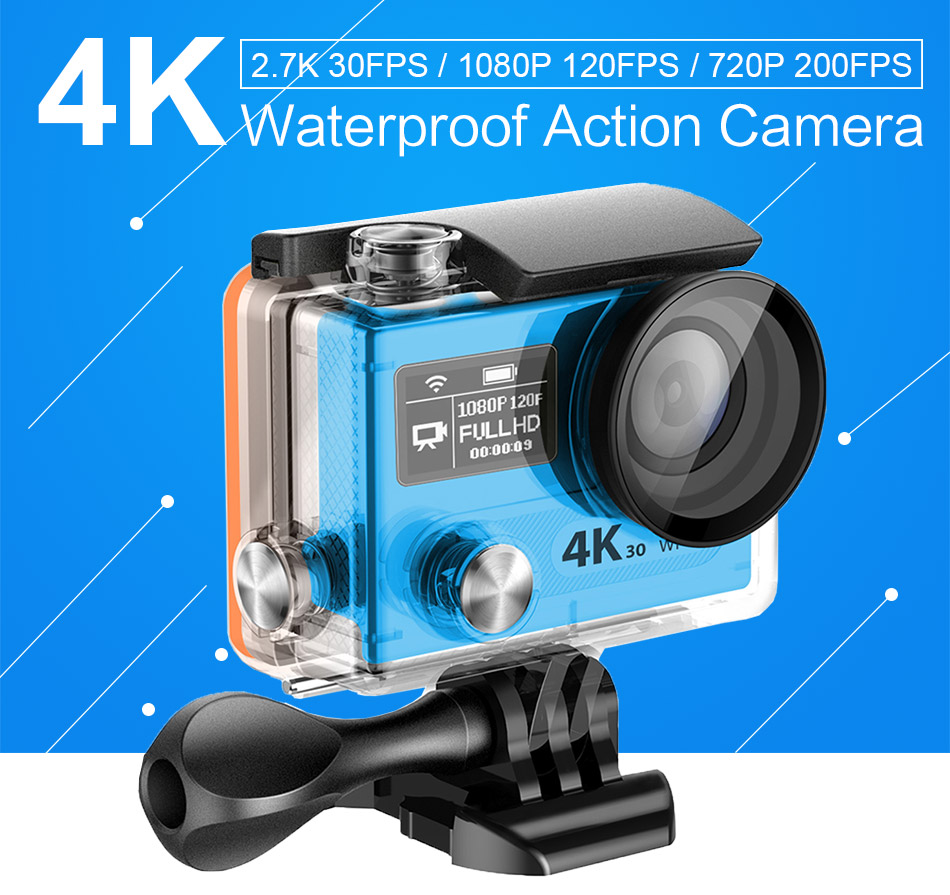 VR360 4K 30fps/ 2.7K 30fps/ 1080P 60fps Video Recorded Resolution 16M camera WiFi Waterproof Dual Screen Sports Actions Camera