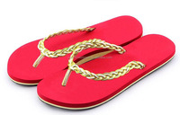 2014 new styles of girls shiny beach flip flops