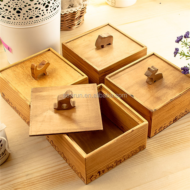 Creative solid wood unfinished wooden storage box ,small wooden box wholesale