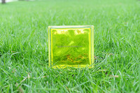 Lemon inner-colored cloudy glass block for building decoration 19*19*8cm
