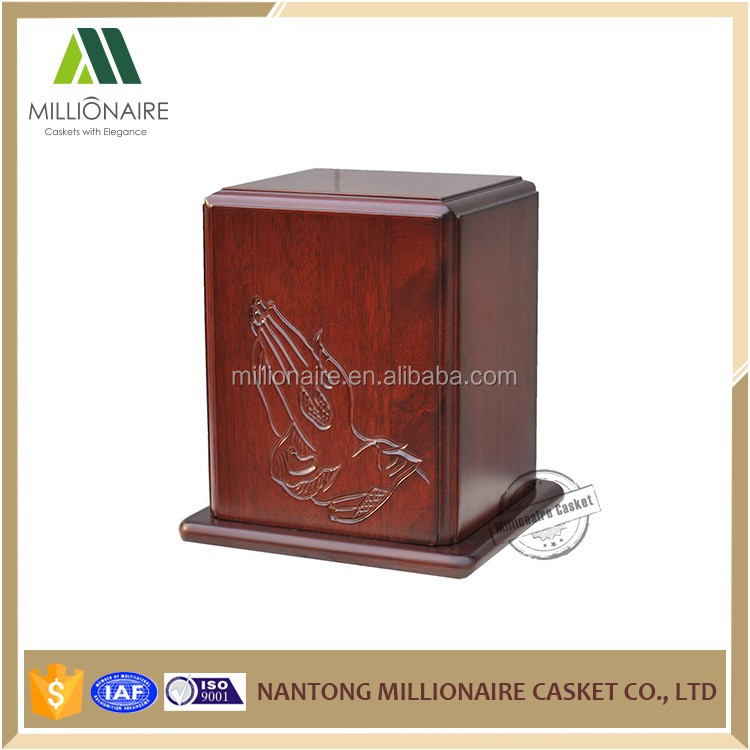 Cheap ash wooden urn manufacturers, praying hand urn