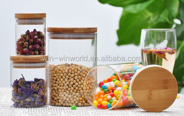 Table Clear Air Proof Glass Candy Container With Bamboo Cap